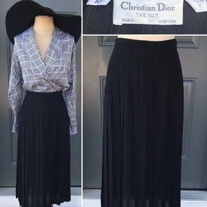 Vintage Christian Dior Black Pleated Midi Skirt
